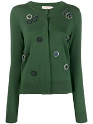 Tory Burch Embroidery Embellished Cardigan Green