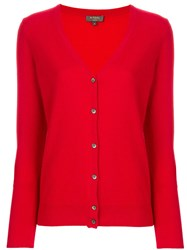 N.Peal V Neck Cardigan Red