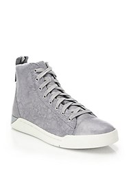 Diesel Tempus Diamond Washed Leather High Top Sneakers Grey