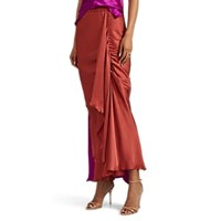 Juan Carlos Obando Washed Satin Draped Asymmetric Skirt Rust