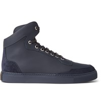 Harry's Of London Mr. Jones Suede Panelled Leather High Top Sneakers Blue