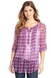 Women's Casual Studio Pleat Front Peasant Blouse Purple Dark Stripe Print