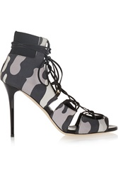 Jimmy Choo Myrtle Camouflage Print Nubuck Sandals