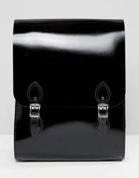 Leather Satchel Company Rounded Medium Backpack In Black Patent Black Patent