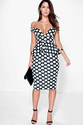 Boohoo Off The Shoulder Polka Dot Peplum Midi Dress Black