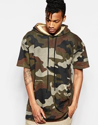 Other Uk Other Camo Hoodie With Short Sleeves And Zip Back Brown