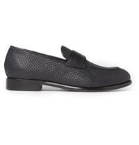 Ermenegildo Zegna Pelle Tessuta Leather Loafers Midnight Blue