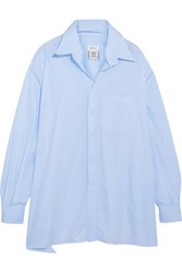 Vetements Brioni Oversized Frayed Cotton Poplin Shirt Light Blue