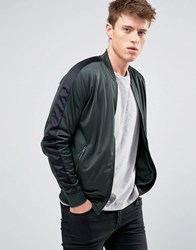 New Look Track Bomber Jacket In Dark Green Dark Green
