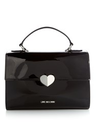 Love Moschino Patent Satchel Tote Bag Black