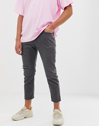 Religion Cropped Straight Fit Jeans With Rips In Black Wash