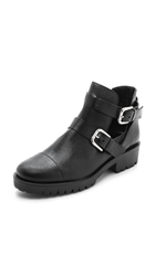 Studio Pollini Flat Open Buckle Booties Nero