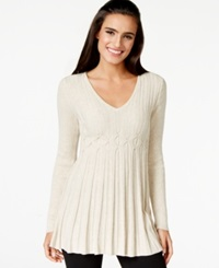 Studio M Cable Knit Peplum Sweater Heather White