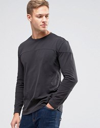 Sisley T Shirt In Drop Shoulder With Cut And Sew Panel Detail Black 15F