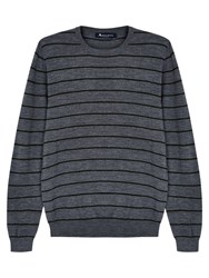 Aquascutum London Rolfe Stripe Crew Neck Merino Wool Jumper Grey