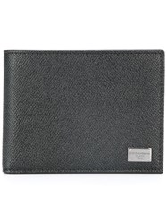 Dolce And Gabbana Dauphine Leather Billfold Wallet Black