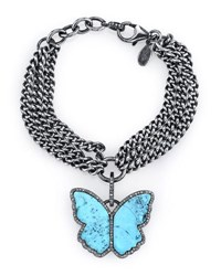 Sheryl Lowe Three Strand Chain Bracelet With Turquoise And Diamond Butterfly Charm