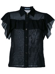 Blumarine Ruffled Fitted Blouse Black