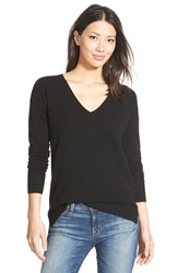 Petite Women's Halogen V Neck Lightweight Cashmere Sweater Black