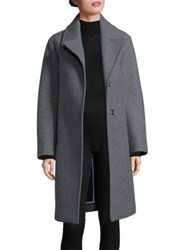 Dkny Snap Button Front Wool Blend Overcoat Flint