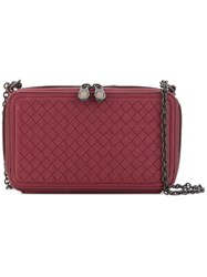 Bottega Veneta Woven Cross Body Bag Red