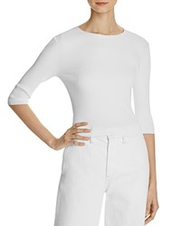 Vince Ribbed Elbow Sleeve Sweater White