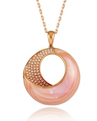 Small Pink Mother Of Pearl And Diamond Venus Twist Pendant Necklace Frederic Sage