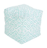 Surya Rain Cube Pouf 1 Light Aqua Blush Blue
