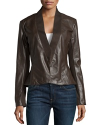 Bagatelle Faux Leather Peplum Jacket Chocolate
