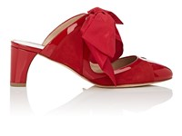Zac Posen Daniella Suede And Patent Leather Mules Red