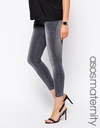 Asos Maternity Ridley Skinny Ankle Grazer Jean In Slick Grey With Under The Bump Waistband