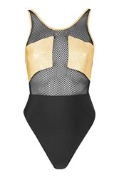 Jaded London Gold Holographic Mesh Swimsuit By Black