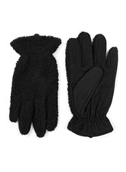 Topman Black Leather And Faux Shearling Gloves