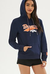 Forever 21 Nfl Broncos Fleece Hoodie Blue Orange