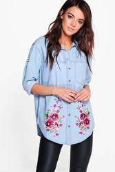 Boohoo Oversized Distressed Embroidered Denim Shirt Blue