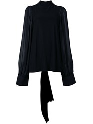 Vera Wang Sheer Back Blouse Black