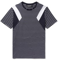 Neil Barrett Slim Fit Panelled Striped Cotton Jersey T Shirt Navy