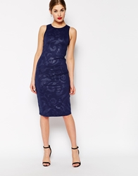 True Decadence Bodycon Dress With 3D Floral Design Navy