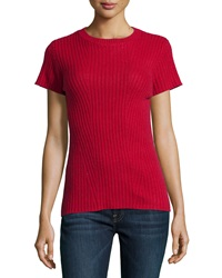 Philosophy Cashmere Cashmere Ribbed Short Sleeve Sweater Red Heart