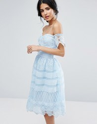 Chi Chi London Off Shoulder Midi Dress In Paneled Lace Blue