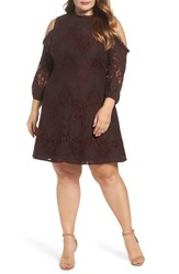 Elvi Plus Size Women's Cold Shoulder Lace A Line Dress Burgundy