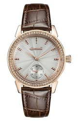 Ingersoll Watches Women's Crystal Accent Leather Strap Watch 34Mm Brown Grey Rose Gold
