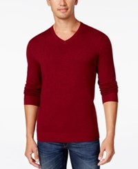 Alfani Men's V Neck Heathered Long Sleeve Sweater Regular Fit Red Velvet Heather