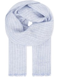 Corneliani Checked Linen Scarf Navy Sky