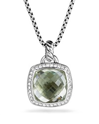 David Yurman Pendant With Prasiolite And Diamonds Green Silver