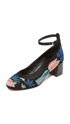 Rebecca Minkoff Bridget Too Embroidered Pumps Floral Embroidery Black