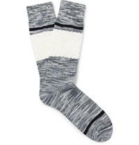 Textured Space Dyed Stretch Cotton Blend Socks Gray