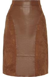 Dagmar Dia Paneled Leather And Suede Pencil Skirt