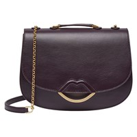 Lulu Guinness Half Covered Lip Isabella Smooth Leather Cross Body Bag Aubergine