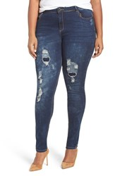 City Chic Plus Size Women's 'Dismantle' Ripped Stretch Skinny Jeans